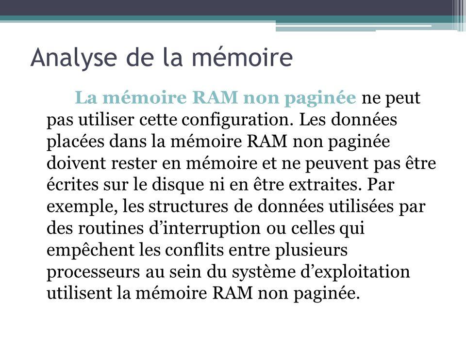 La mémoire RAM non paginée ne peut pas utiliser cette configuration. Les données placées dans la mémoire RAM non paginée doivent rester en mémoire et