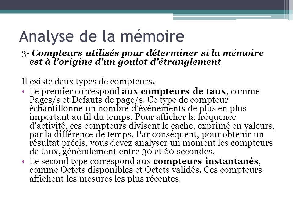 3- Compteurs utilisés pour déterminer si la mémoire est à lorigine dun goulot détranglement Il existe deux types de compteurs. Le premier correspond a