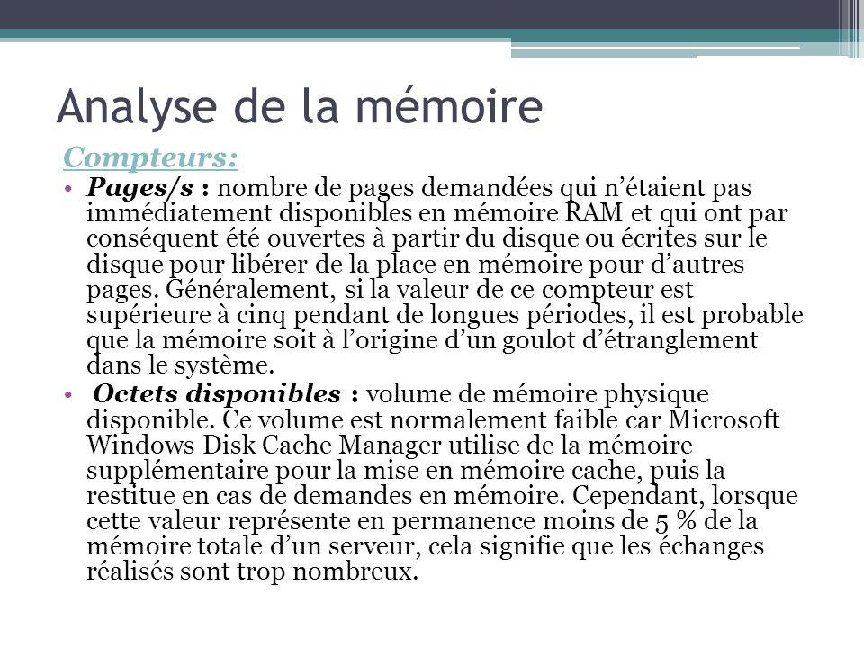 Compteurs: Pages/s : nombre de pages demandées qui nétaient pas immédiatement disponibles en mémoire RAM et qui ont par conséquent été ouvertes à part