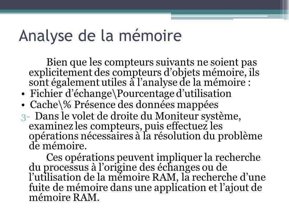 Bien que les compteurs suivants ne soient pas explicitement des compteurs dobjets mémoire, ils sont également utiles à lanalyse de la mémoire : Fichie