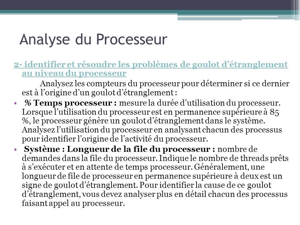 2- identifier et résoudre les problèmes de goulot détranglement au niveau du processeur Analysez les compteurs du processeur pour déterminer si ce der