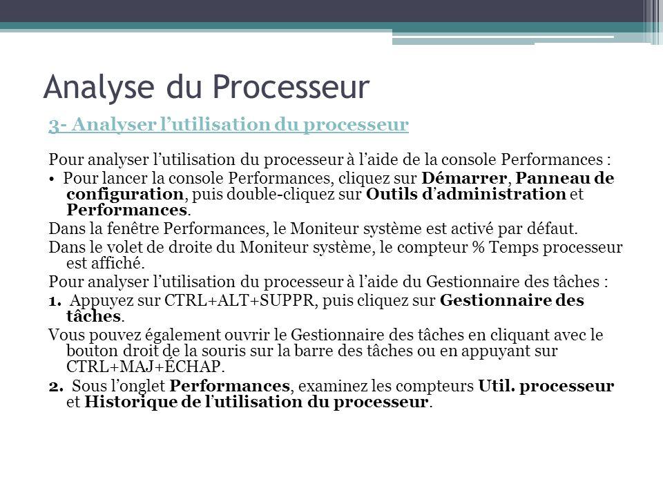 3- Analyser lutilisation du processeur Pour analyser lutilisation du processeur à laide de la console Performances : Pour lancer la console Performanc