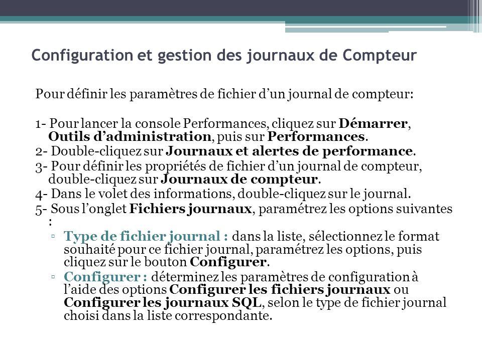 Pour définir les paramètres de fichier dun journal de compteur: 1- Pour lancer la console Performances, cliquez sur Démarrer, Outils dadministration,