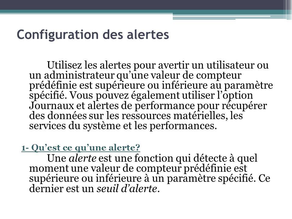 Configuration des alertes Utilisez les alertes pour avertir un utilisateur ou un administrateur quune valeur de compteur prédéfinie est supérieure ou
