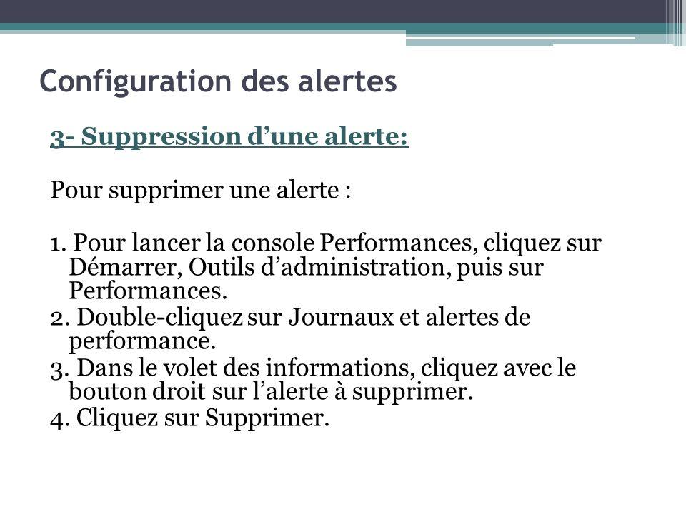 3- Suppression dune alerte: Pour supprimer une alerte : 1. Pour lancer la console Performances, cliquez sur Démarrer, Outils dadministration, puis sur