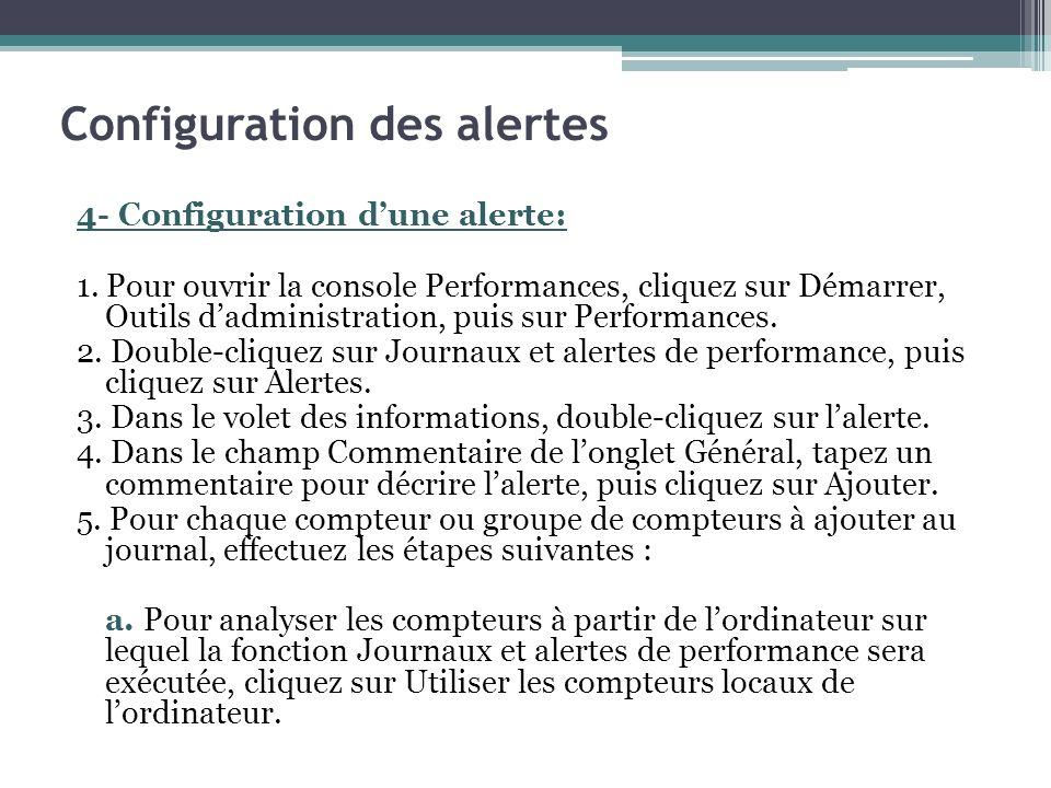 4- Configuration dune alerte: 1. Pour ouvrir la console Performances, cliquez sur Démarrer, Outils dadministration, puis sur Performances. 2. Double-c