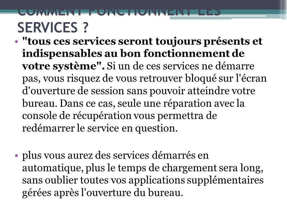 tous ces services seront toujours présents et indispensables au bon fonctionnement de votre système .