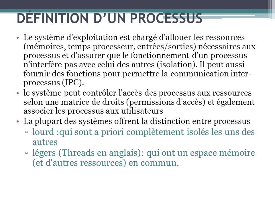 DÉFINITION DUN PROCESSUS Le système d'exploitation est chargé d'allouer les ressources (mémoires, temps processeur, entrées/sorties) nécessaires aux p