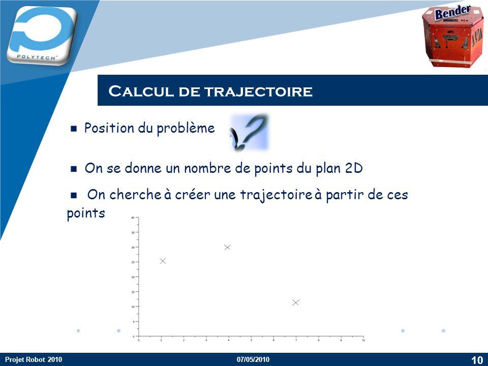 Company LOGO Calcul de trajectoire Position du problème On se donne un nombre de points du plan 2D On cherche à créer une trajectoire à partir de ces points 10 Projet Robot 201007/05/2010