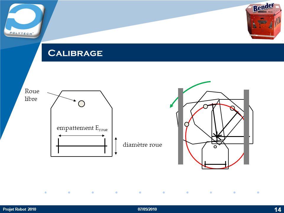 Company LOGO diamètre roue empattement E roue Roue libre Calibrage 14 Projet Robot 201007/05/2010