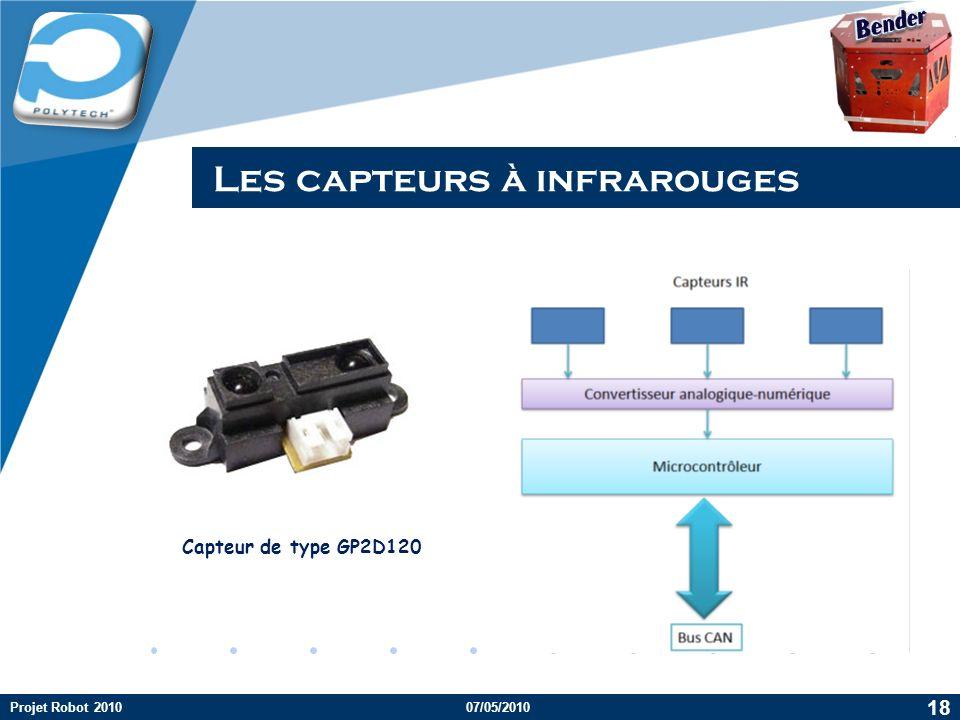 Company LOGO Les capteurs à infrarouges Capteur de type GP2D120 Projet Robot 201007/05/2010 18