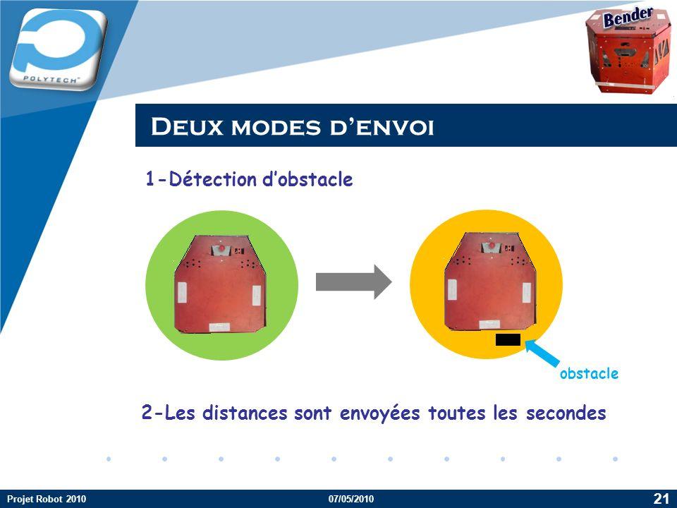 Company LOGO Deux modes denvoi Projet Robot 201007/05/2010 21 1-Détection dobstacle 2-Les distances sont envoyées toutes les secondes obstacle