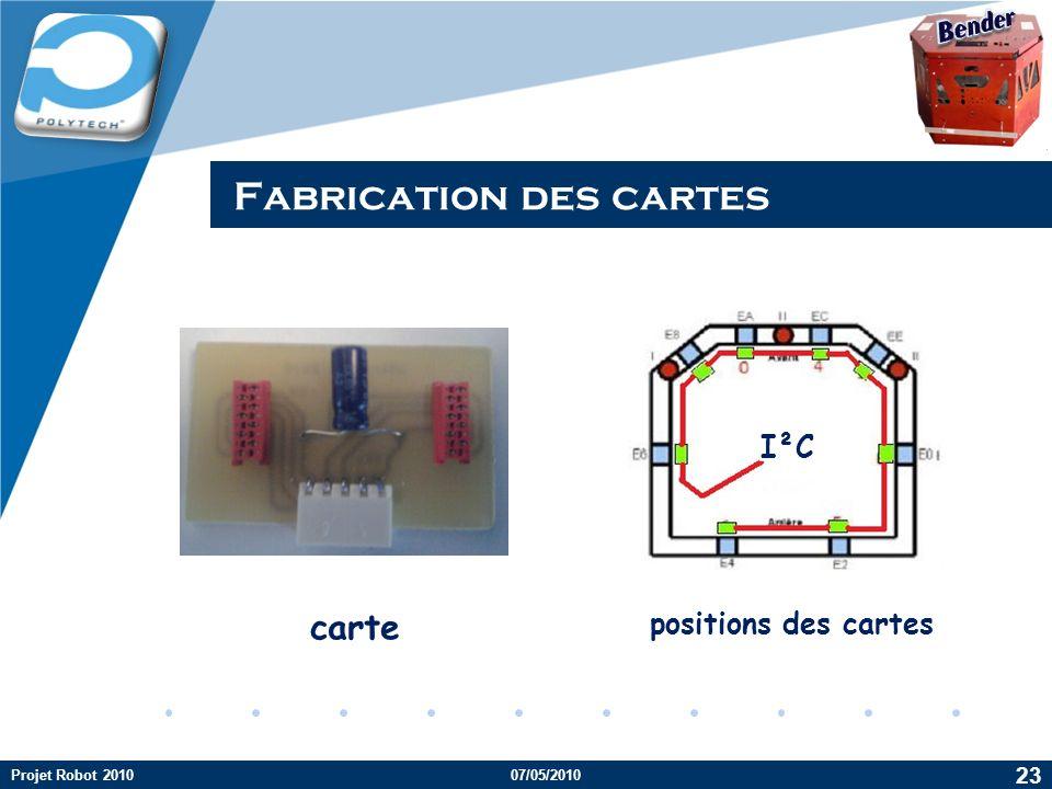 Company LOGO Fabrication des cartes carte Projet Robot 201007/05/2010 23 positions des cartes I²C