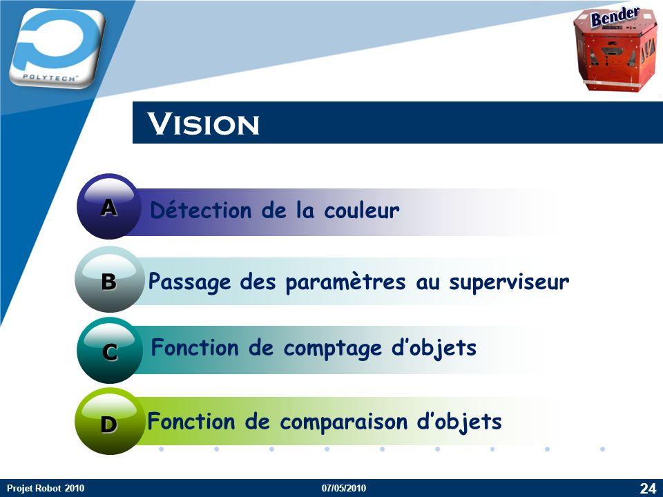 Company LOGO Vision Fonction de comptage dobjets Fonction de comparaison dobjets Détection de la couleur Passage des paramètres au superviseur A D B C D 24 Projet Robot 201007/05/2010