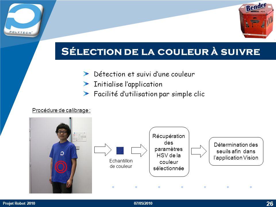 Company LOGO Procédure de calibrage : Détection et suivi dune couleur Initialise lapplication Facilité dutilisation par simple clic 26 Projet Robot 20