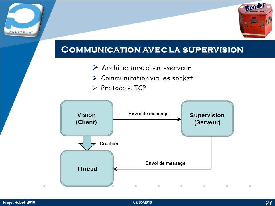 Company LOGO Architecture client-serveur Communication via les socket Protocole TCP 27 Projet Robot 2010 Vision (Client) Supervision (Serveur) Envoi de message Thread Création Envoi de message Communication avec la supervision 07/05/2010