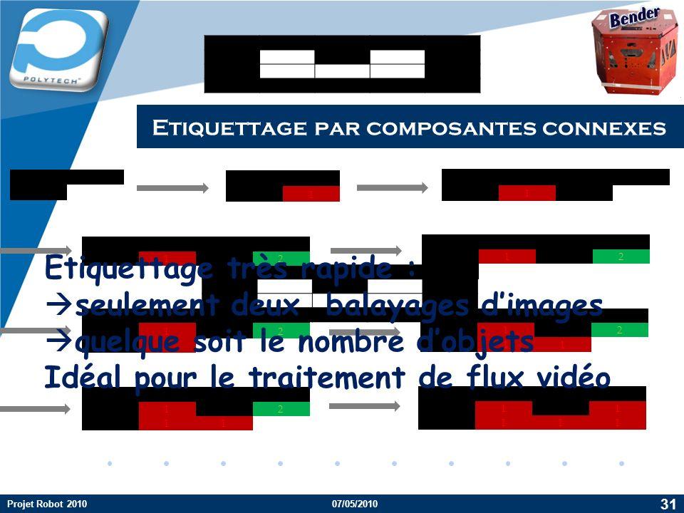 Company LOGO Etiquettage par composantes connexes 31 Projet Robot 2010 [x-1, y] [x, y-1] [x-1, y] 1 [x, y-1] 1 [x-1, y] 1 2 1 2 1 [x, y-1] 2 1 1 2 11 1 2 11 1 1 111 Etiquettage très rapide : seulement deux balayages dimages quelque soit le nombre dobjets Idéal pour le traitement de flux vidéo 07/05/2010