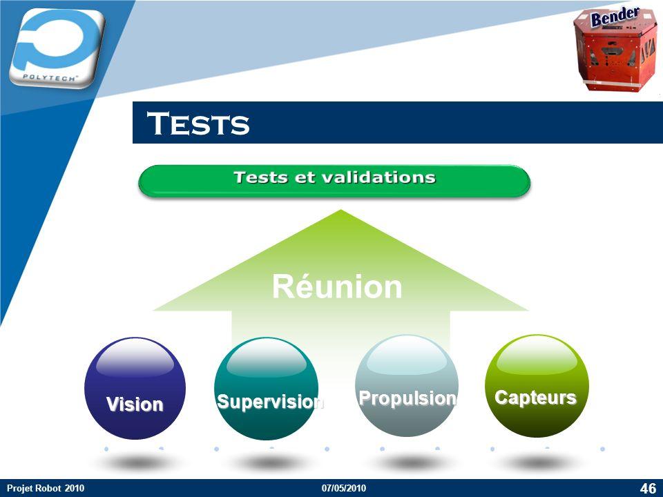 Company LOGO Tests Réunion Vision Supervision Propulsion Capteurs 46 Projet Robot 201007/05/2010