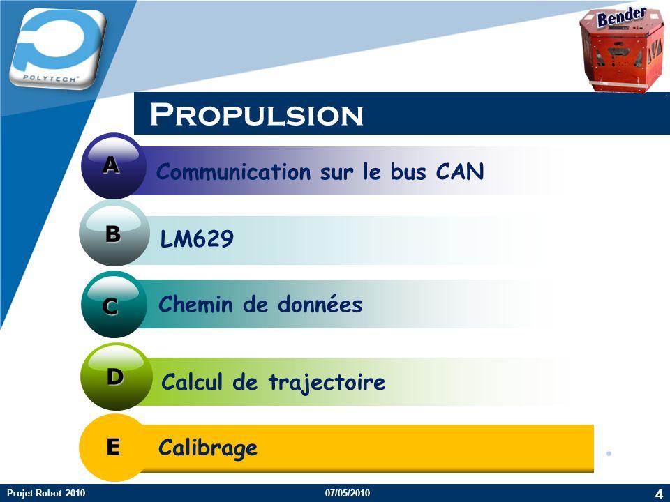 Company LOGO Propulsion Chemin de données Communication sur le bus CAN Calcul de trajectoire A B C D 4 Projet Robot 201007/05/2010 LM629 E Calibrage