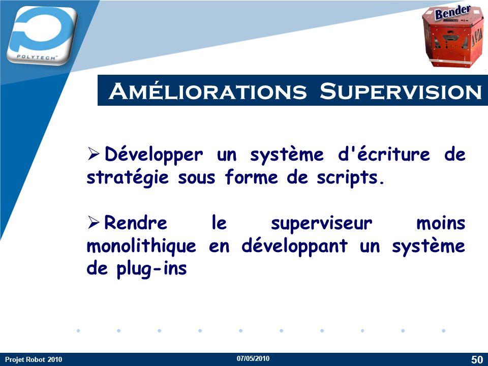 Company LOGO Améliorations Supervision 07/05/2010 Projet Robot 2010 50 Développer un système d'écriture de stratégie sous forme de scripts. Rendre le