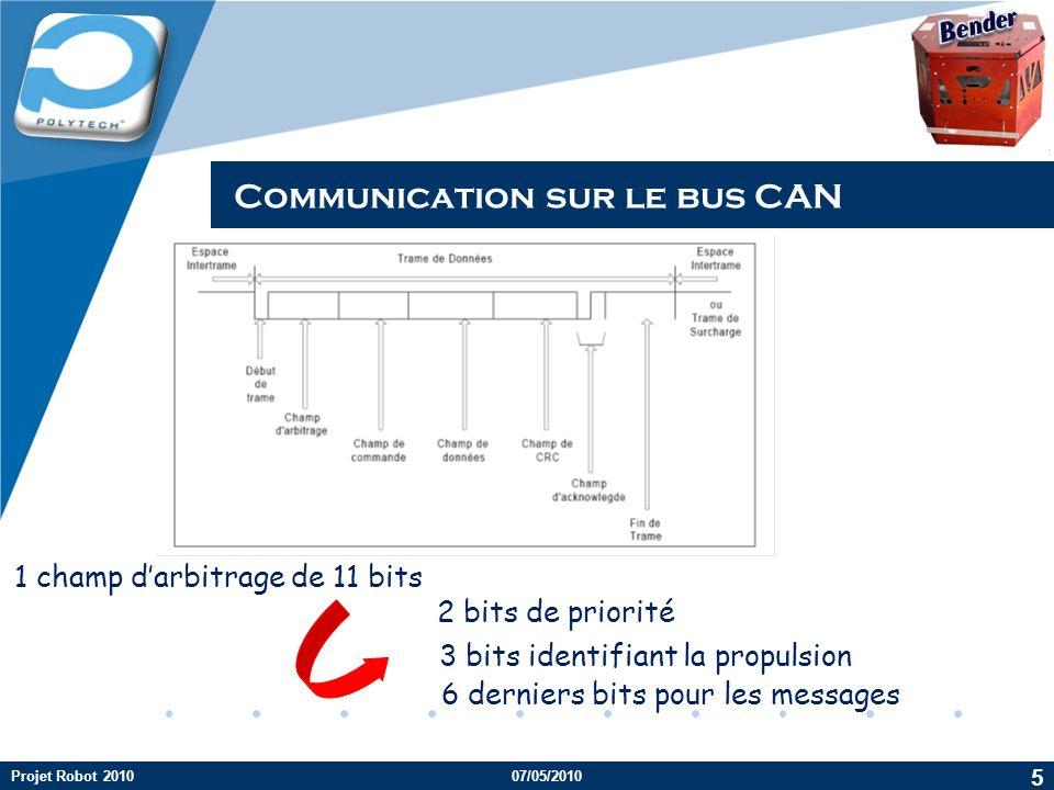 Company LOGO Communication sur le bus CAN 1 champ darbitrage de 11 bits 2 bits de priorité 3 bits identifiant la propulsion 6 derniers bits pour les m