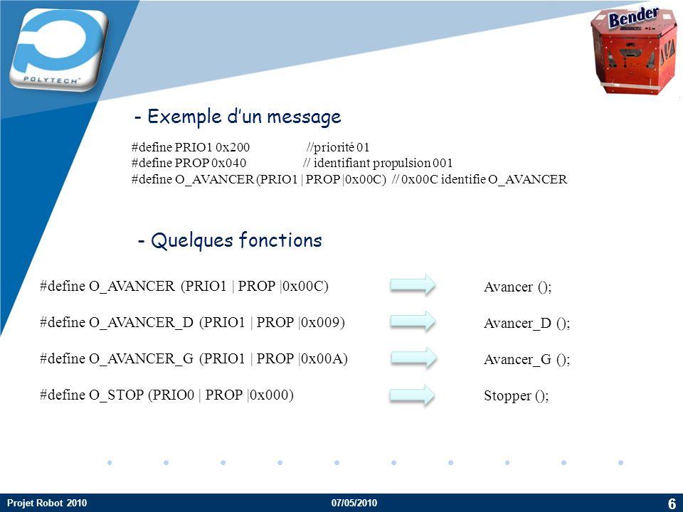 Company LOGO #define PRIO1 0x200 //priorité 01 #define PROP 0x040// identifiant propulsion 001 #define O_AVANCER (PRIO1 | PROP |0x00C) // 0x00C identi