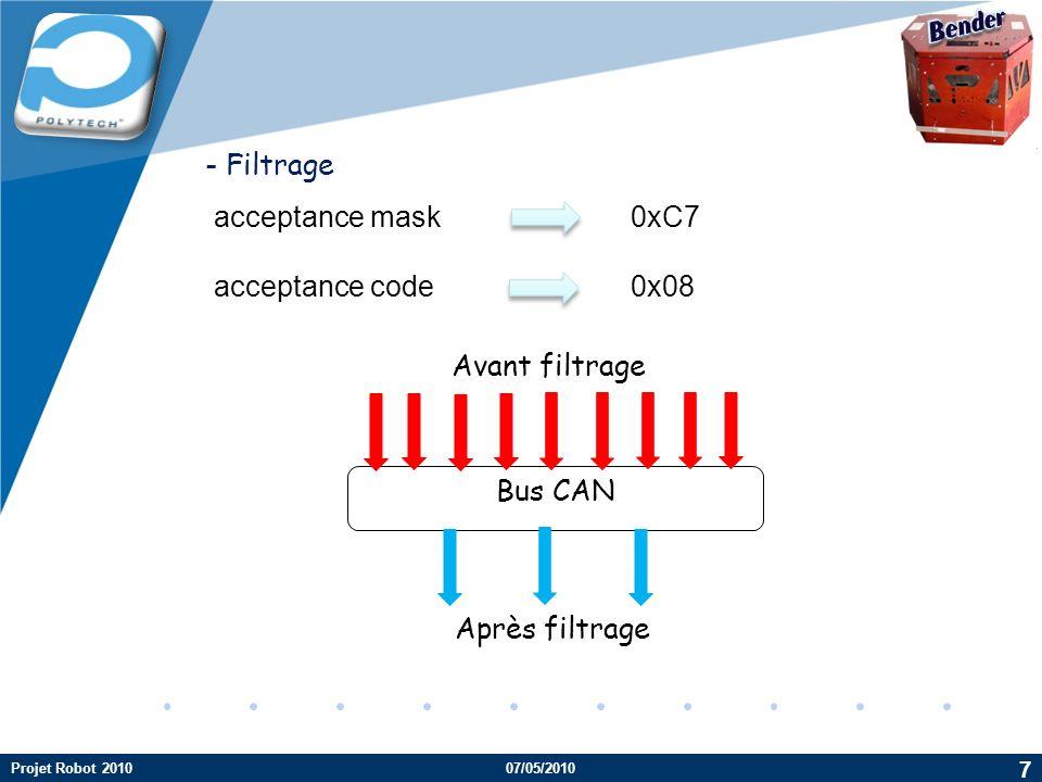 Company LOGO acceptance mask 0xC7 acceptance code0x08 - Filtrage Bus CAN Avant filtrage Après filtrage 7 Projet Robot 201007/05/2010