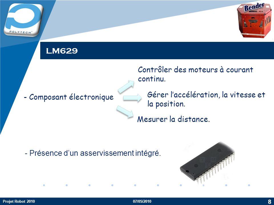 Company LOGO LM629 - Composant électronique Contrôler des moteurs à courant continu. Gérer laccélération, la vitesse et la position. Mesurer la distan