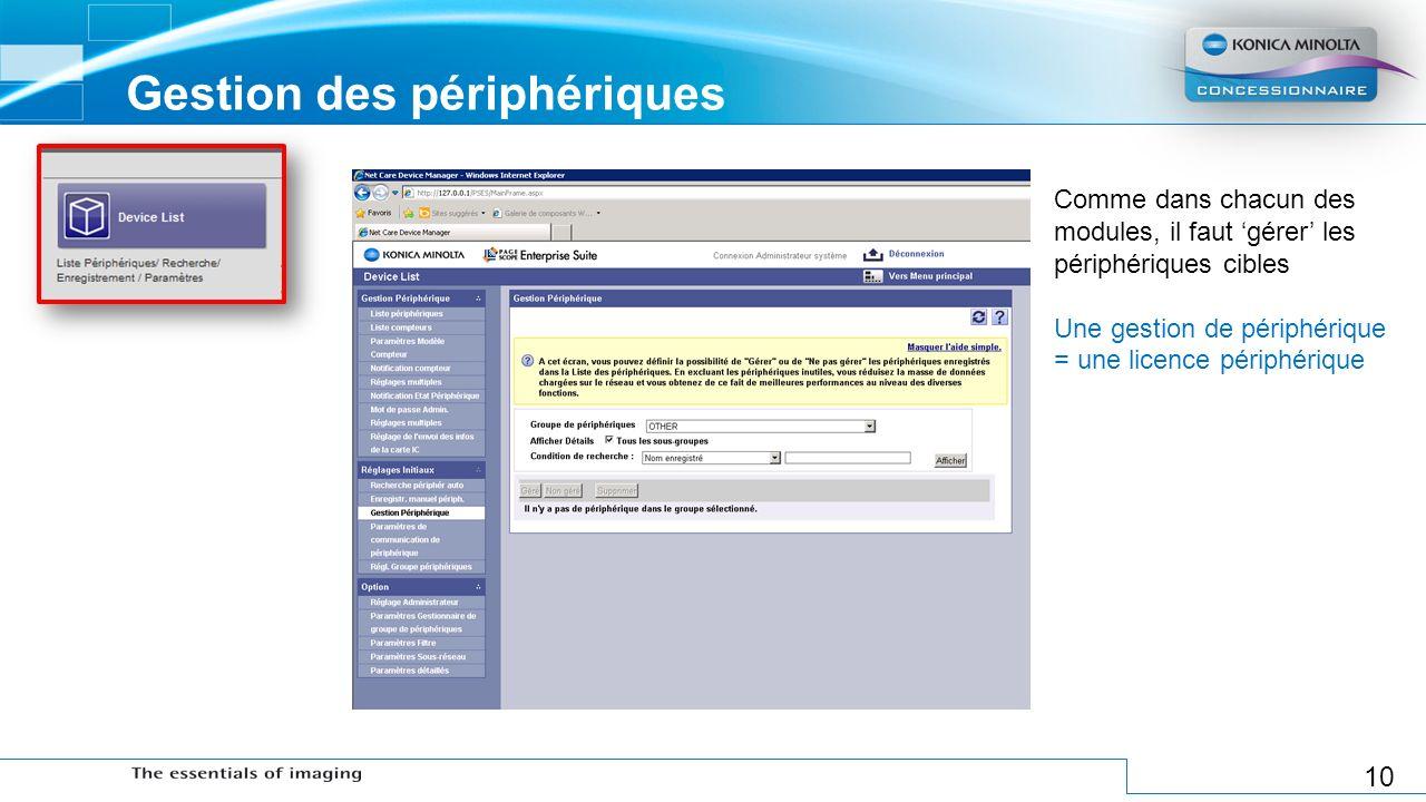 10 Gestion des périphériques Comme dans chacun des modules, il faut gérer les périphériques cibles Une gestion de périphérique = une licence périphéri