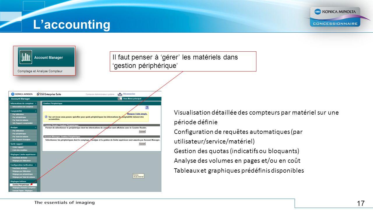 17 Laccounting Visualisation détaillée des compteurs par matériel sur une période définie Configuration de requêtes automatiques (par utilisateur/serv