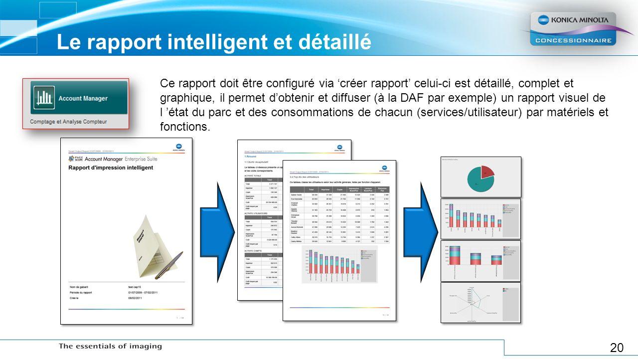 20 Le rapport intelligent et détaillé Ce rapport doit être configuré via créer rapport celui-ci est détaillé, complet et graphique, il permet dobtenir