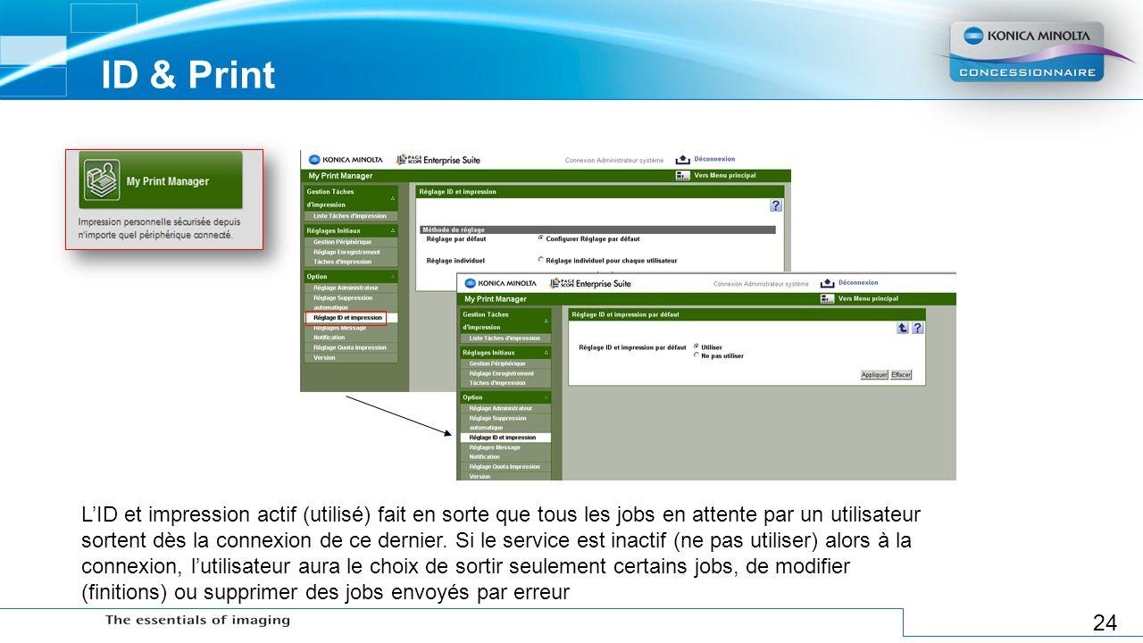 24 ID & Print LID et impression actif (utilisé) fait en sorte que tous les jobs en attente par un utilisateur sortent dès la connexion de ce dernier.
