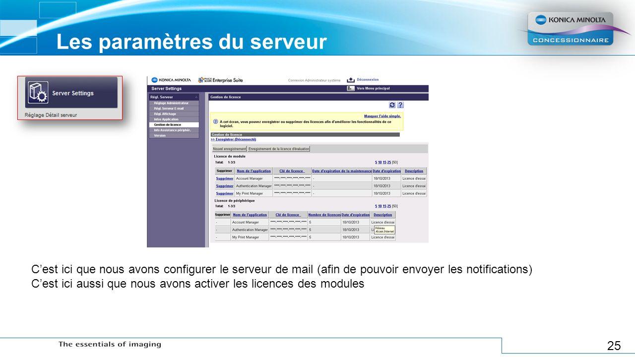 25 Les paramètres du serveur Cest ici que nous avons configurer le serveur de mail (afin de pouvoir envoyer les notifications) Cest ici aussi que nous