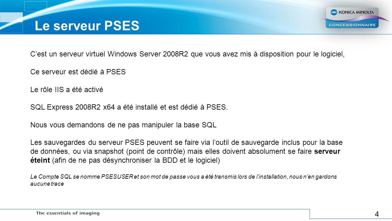 4 Le serveur PSES Cest un serveur virtuel Windows Server 2008R2 que vous avez mis à disposition pour le logiciel, Ce serveur est dédié à PSES Le rôle