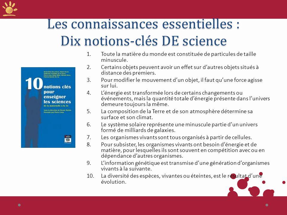 Les connaissances essentielles : Dix notions-clés DE science 1. Toute la matière du monde est constituée de particules de taille minuscule. 2. Certain
