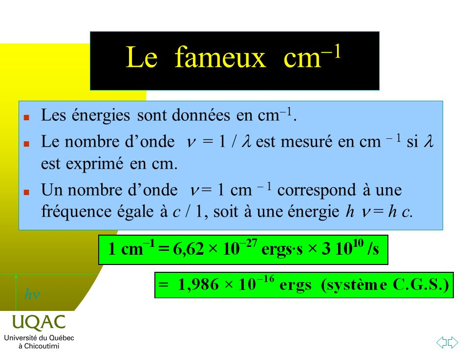 h Le fameux cm 1 Les énergies sont données en cm 1.