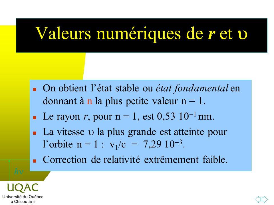 h Valeurs numériques de r et n On obtient létat stable ou état fondamental en donnant à n la plus petite valeur n = 1.