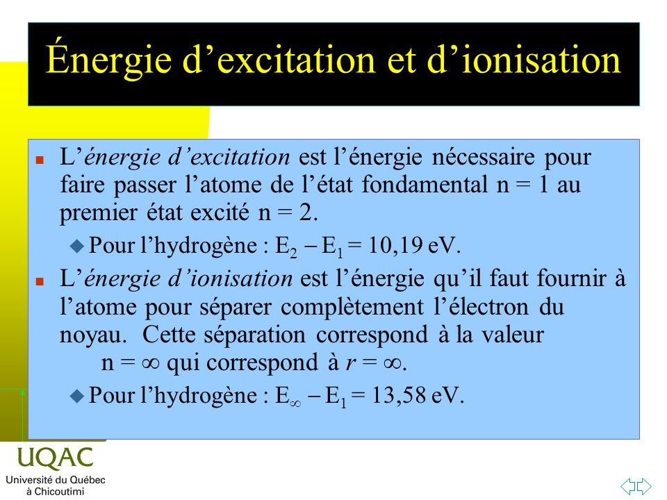 h Énergie dexcitation et dionisation n Lénergie dexcitation est lénergie nécessaire pour faire passer latome de létat fondamental n = 1 au premier état excité n = 2.