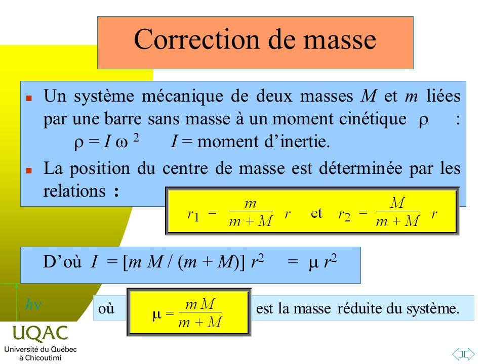 h Un système mécanique de deux masses M et m liées par une barre sans masse à un moment cinétique : = I 2 I = moment dinertie.