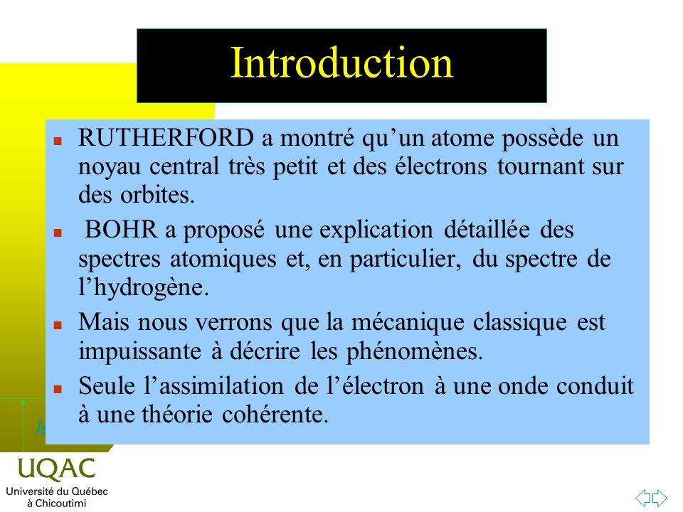 h Introduction n RUTHERFORD a montré quun atome possède un noyau central très petit et des électrons tournant sur des orbites.