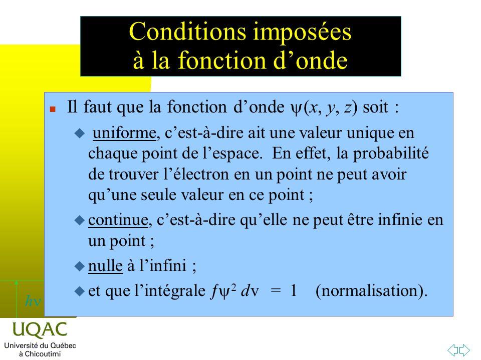 h Il faut que la fonction donde (x, y, z) soit : u uniforme, cest-à-dire ait une valeur unique en chaque point de lespace.