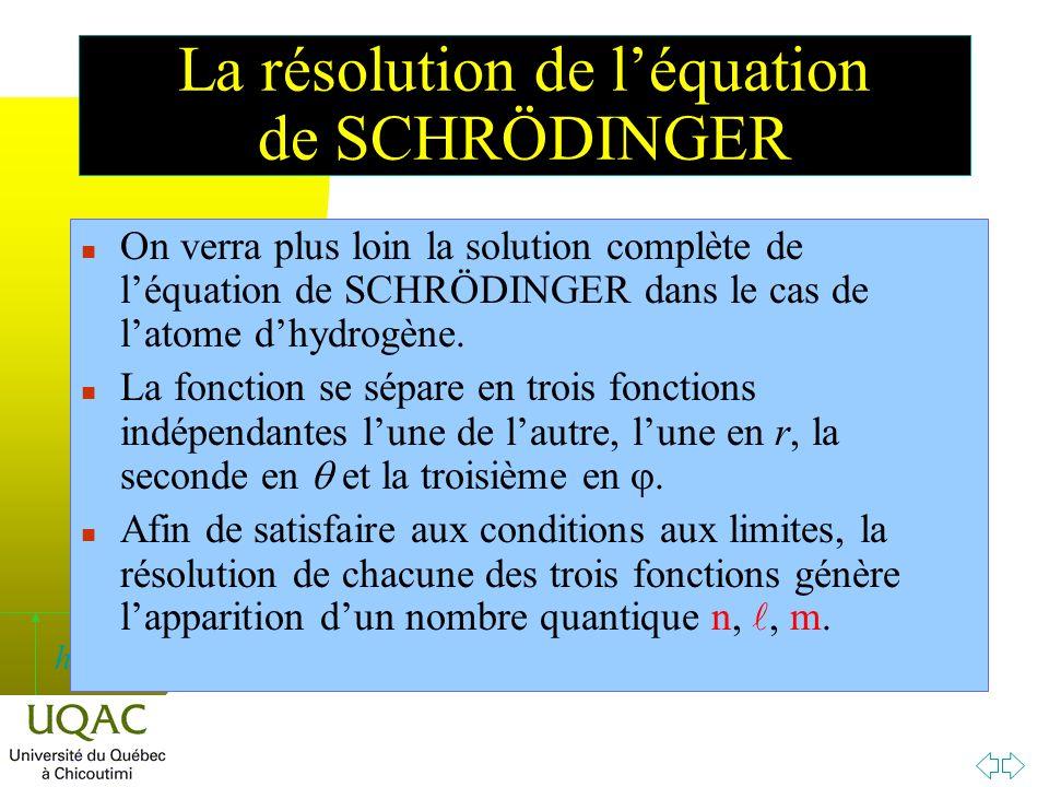 h n On verra plus loin la solution complète de léquation de SCHRÖDINGER dans le cas de latome dhydrogène.