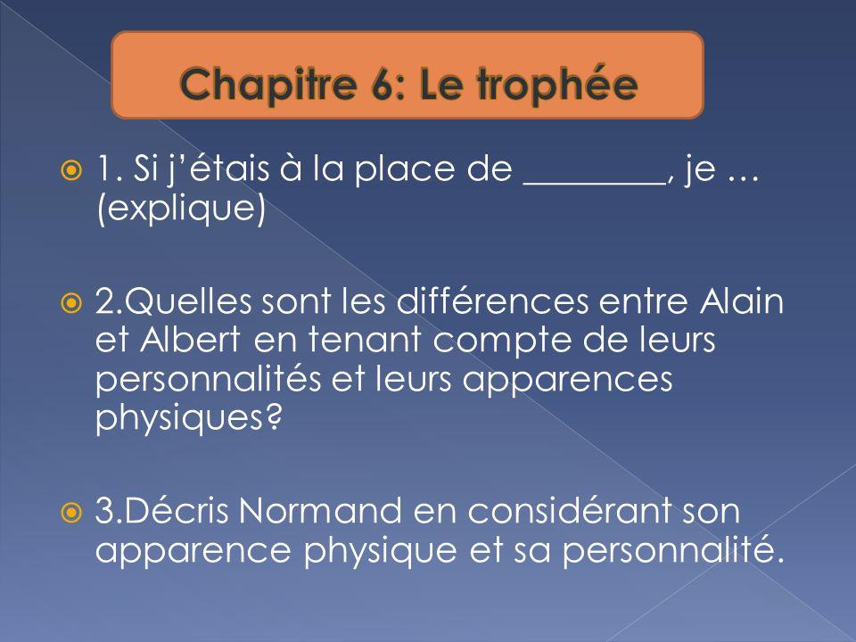 1. Si jétais à la place de ________, je … (explique) 2.Quelles sont les différences entre Alain et Albert en tenant compte de leurs personnalités et l