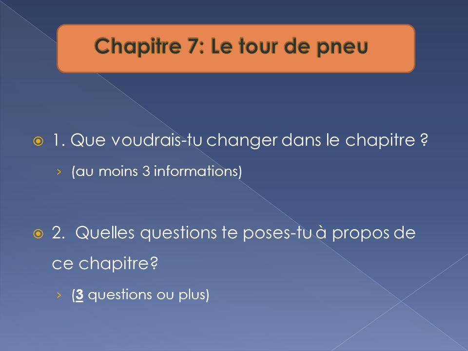 1. Que voudrais-tu changer dans le chapitre ? (au moins 3 informations) 2. Quelles questions te poses-tu à propos de ce chapitre? ( 3 questions ou plu