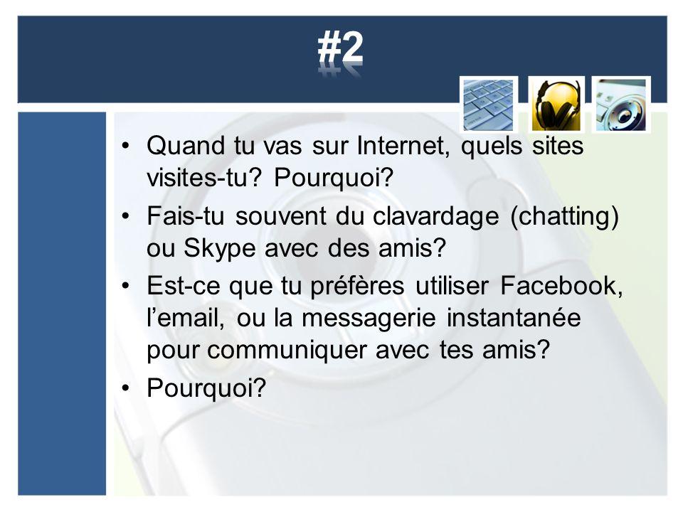 Quand tu vas sur Internet, quels sites visites-tu? Pourquoi? Fais-tu souvent du clavardage (chatting) ou Skype avec des amis? Est-ce que tu préfères u