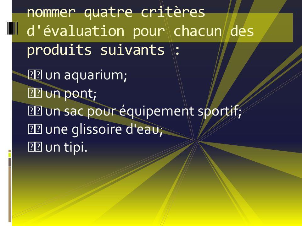 nommer quatre critères d'évaluation pour chacun des produits suivants : un aquarium; un pont; un sac pour équipement sportif; une glissoire d'eau; un