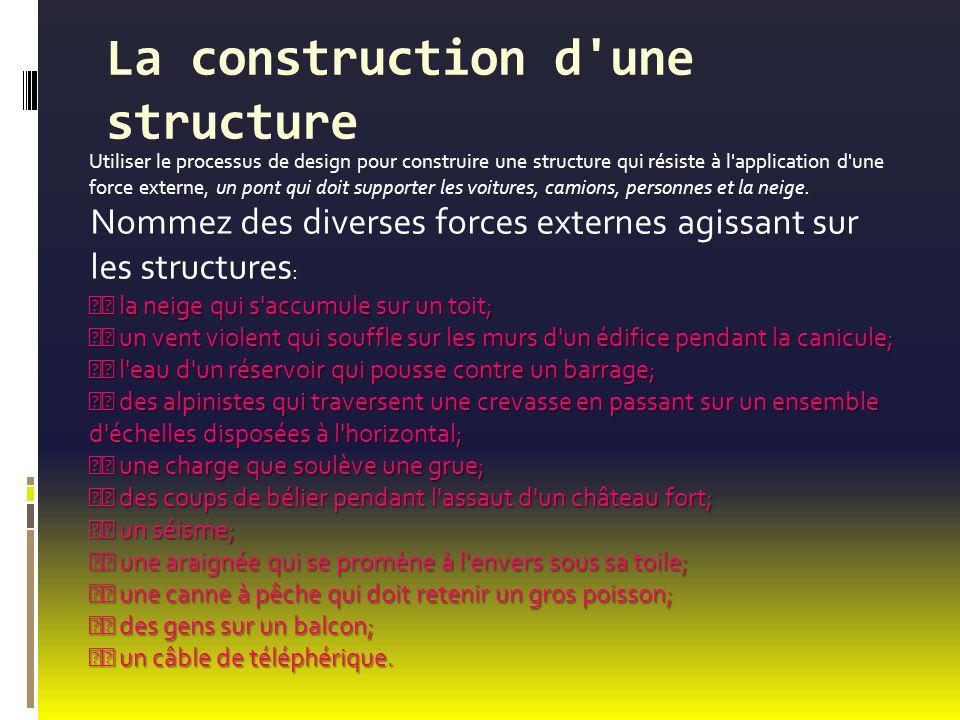 La construction d une structure Utiliser le processus de design pour construire une structure qui résiste à l application d une force externe, un pont qui doit supporter les voitures, camions, personnes et la neige.
