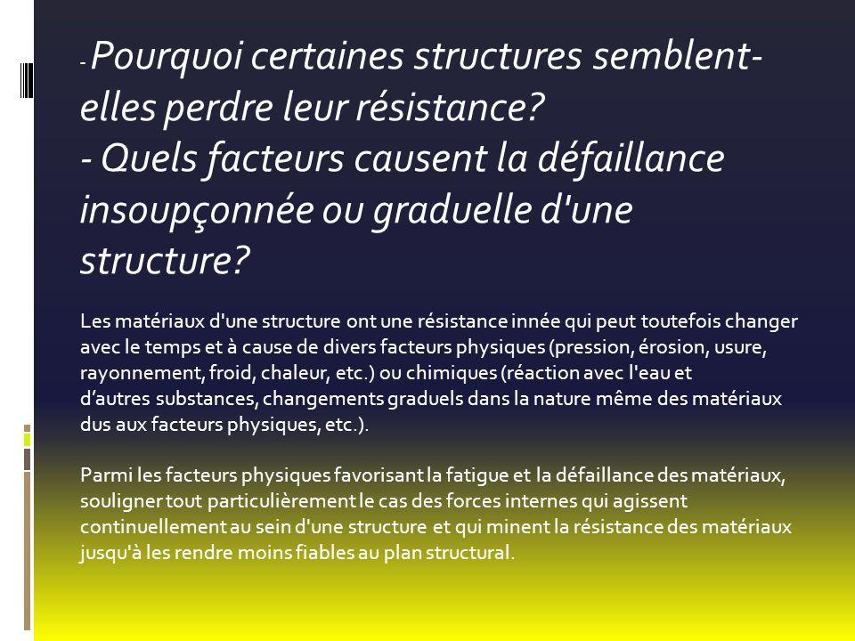 - Pourquoi certaines structures semblent- elles perdre leur résistance? - Quels facteurs causent la défaillance insoupçonnée ou graduelle d'une struct