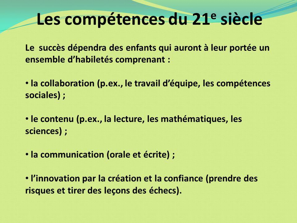 Les compétences du 21 e siècle Le succès dépendra des enfants qui auront à leur portée un ensemble dhabiletés comprenant : la collaboration (p.ex., le