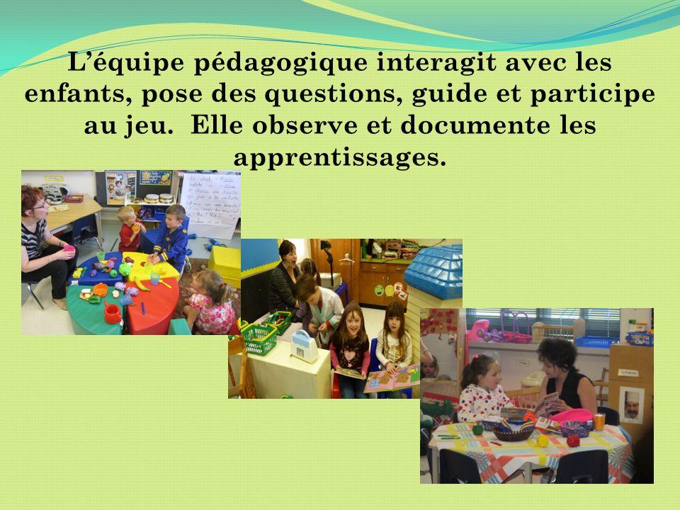 Léquipe pédagogique interagit avec les enfants, pose des questions, guide et participe au jeu. Elle observe et documente les apprentissages.